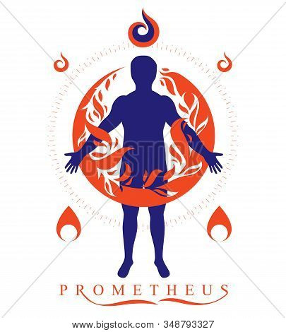Vector Graphic Illustration Of Strong Male, Body Silhouette Standing. Fire Person As Bunch Of The Po