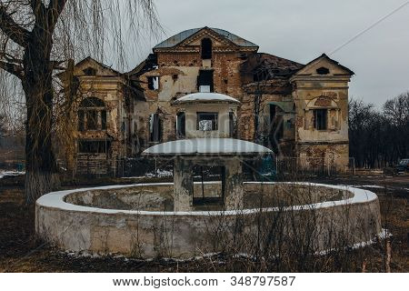 Dark And Creepy Old Abandoned Mansion. Gorozhanka, Former Venevitinov Manor, Voronezh Region