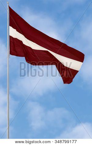 Republic Of Latvia State Flag, Latvian National Carmine Red Vivid Crimson And White Bicolour Ensign,