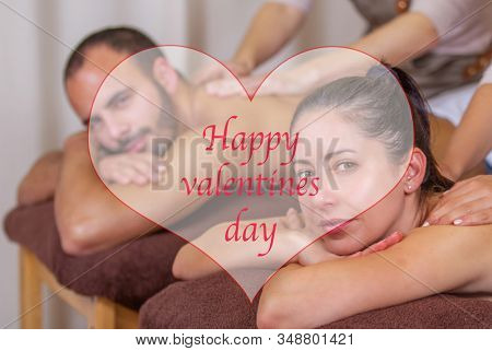 Valentines spa couple celebrating with massage