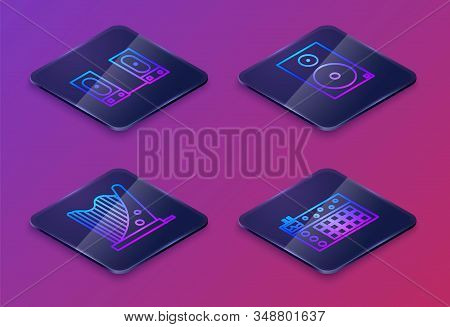 Set Isometric Line Stereo Speaker, Harp, Stereo Speaker And Drum Machine. Blue Square Button. Vector