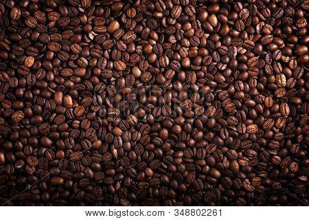 Coffee Seeds, Texture, Natural Organic Dark Background.