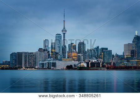 Toronto Skyline At Night, Ontario, Quebec, Canada