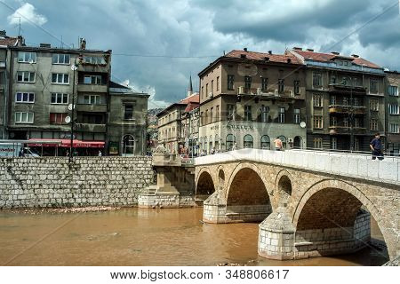 Sarajevo, Bosnia 0 June 5, 2008: Latinska Cuprija, Also Called Latin Bridge, In Summer. It Is An Ott