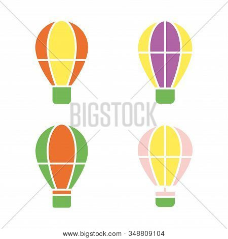 Silhouette Of Hot Air Balloon. Air Transport For Travel