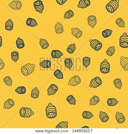 Blue Line Salami Sausage Icon Isolated Seamless Pattern On Yellow Background. Meat Delicatessen Prod