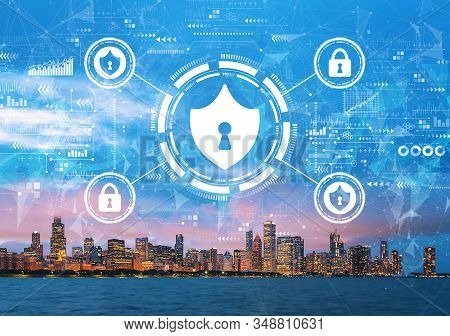 Cyber Security Theme With Downtown Chicago Cityscape Skyline With Lake Michigan