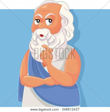 Socrates Classical Greek Philosopher Vector Cartoon Illustration