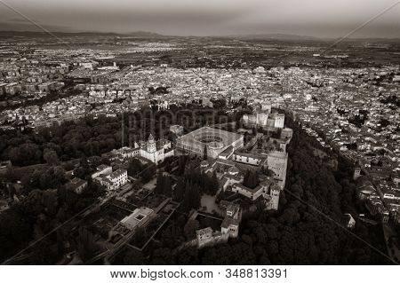 Alhambra aerial view with historical buildings in Granada, Spain.
