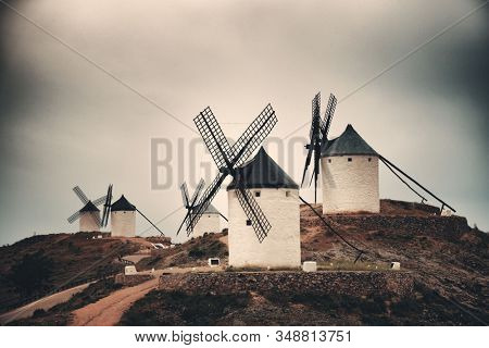 A group of Windmill in Consuegra near Toledo in Spain