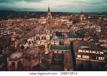 Aerial view of Toledo town skyline with historical buildings in Spain.