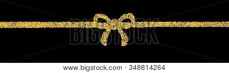 Background Plume Golden Texture Crumbs In The Form Of A Ribbon With A Bow. Gold Dust Scattering On A