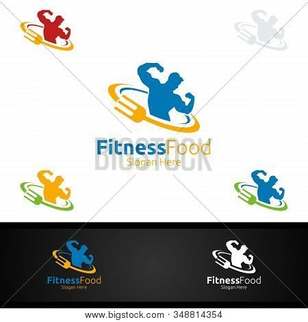 Fitness Food Logo For Nutrition Or Supplement Concept