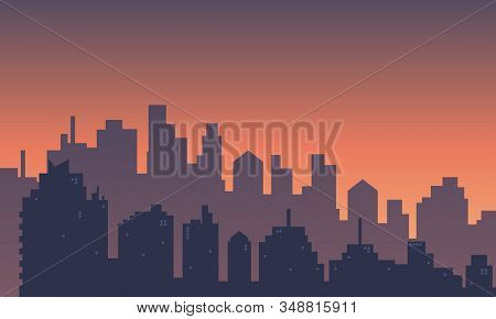 Dusk View With Many Buildings Mall At Urban