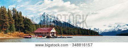 JASPER, CANADA - SEP 13: Beautiful Maligne Lake with boat house in Jasper National Park in Canada on September 13, 2018
