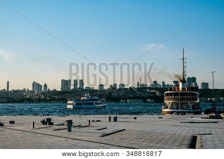 Beautiful Scenery Port With Sightseeing Boats In Istanbul Background. Resort Town Side Into Peaceful