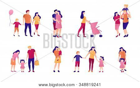 Adults And Children Together Flat Illustration Set. A Collection Of People And Family Relationships,