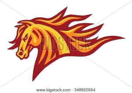 Horse Mustang Head Fire Burning Flame Logo Vector Mascot Design