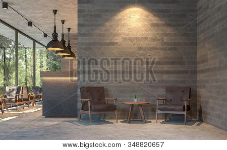 Loft Style Coffee Shop With Nature View 3d Render,there Are Polished Concrete Floors, Wood Plank Sta