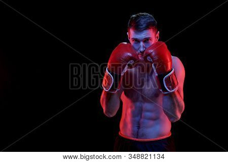 Young muscular boxer in boxing gloves standing in front of camera ready to fight his rival over black background