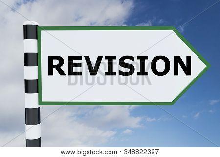 3d Illustration Of Revision Script On Road Sign