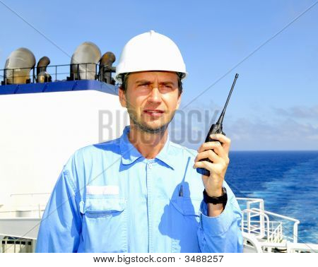 Navigation Officer Talks By Vhf Walkie-Talkie Radio