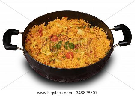 Basmati Rice Vegetable Pulao, Closeup View, Isolated On White Background