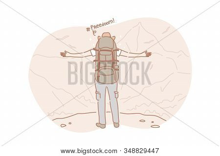Freedom, Travel, Hiking Concept. Active Adventurous Man With Backpack, Boy Hiker Traveller Or Explor