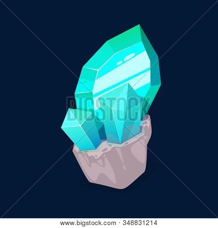 Blue Crystal Gem, Jewel Rock Turquoise Mineral Stone. Vector Natural Green Or Blue Gemstone, Opal Or