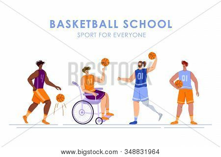 Disabled Basketball Players With Ball, Young Muscular Man In Wheelchair, Man With Prosthetic Leg, Ph