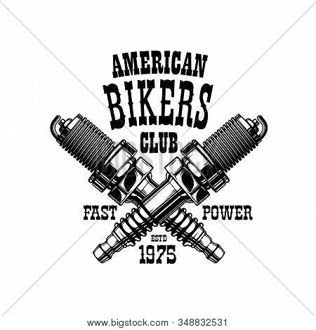 Bikers Club Emblem, Motorcycle Racers And Motorbike Racing Gang Icon. Vector American Bikers Club Gr