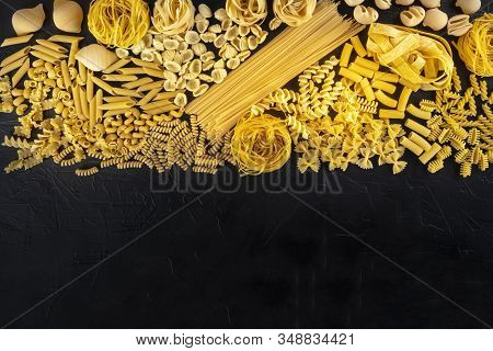 Italian Pasta Design Template With Copy Space, A Flat Lay Of A Variety Of Pasta Types, Shot From The