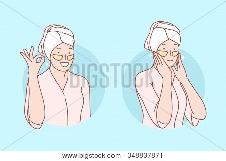 Beauty, Skincare, Eye Patches Set Concept. Young Woman Is Doing Eyes Patching. Happy Girl Cares Abou