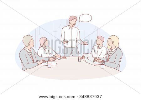 Business Meeting, Leeadership, Coworking Concept. Business People Have Meeting In Office. Group Of M