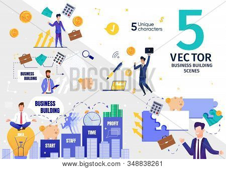 Successful Business Company, Investment Project Building And Developing Trendy Flat Vector Scenes Se