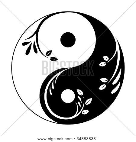 Decorative Yin Yang Symbol. Abstract Yin-yang Icon With Sprigs And Leaves. Symbol Of Unity Of Mascul