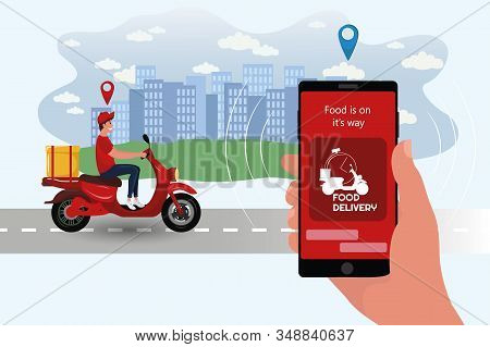Food Delivery App On A Smartphone Tracking A Delivery Man On A Moped With A Ready Meal. Delivery Bik