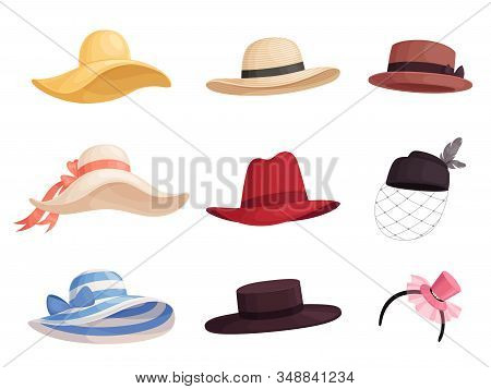 Set Of Womens Fashionable Hats Of Different Colors And Styles In Retro Style. Elegant Broad-brimmed