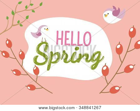 Hello Spring, Banner. Trendy Poster. Happy Spring Time Wallpaper.