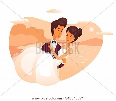 Groom Holding Bride On Arms Flat Vector Illustration. Beautiful Bridal Couple In Love Cartoon Charac