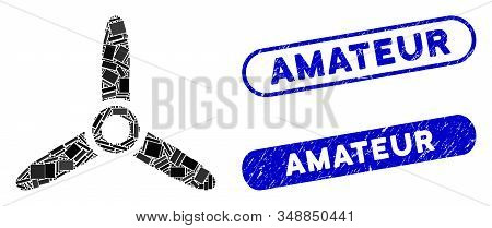 Mosaic Air Turbine And Rubber Stamp Seals With Amateur Phrase. Mosaic Vector Air Turbine Is Designed