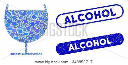 Mosaic Alcohol Glass And Corroded Stamp Seals With Alcohol Caption. Mosaic Vector Alcohol Glass Is F
