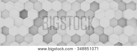 White Background Wall Of Honeycombs. Chaotic Cubes Wall Background. Panorama With High Resolution Wa