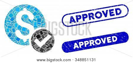 Mosaic Approved Payment And Distressed Stamp Seals With Approved Phrase. Mosaic Vector Approved Paym