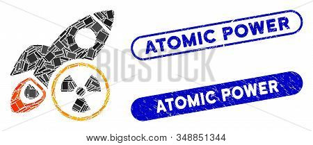 Mosaic Atomic Rocket Science And Rubber Stamp Seals With Atomic Power Text. Mosaic Vector Atomic Roc