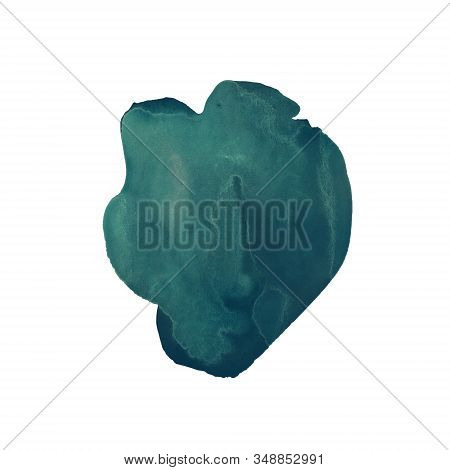 The Emerald Green Hand Drawn Watercolor Stain. Rich Azure Color Similar To Malachite. Marble Stone T
