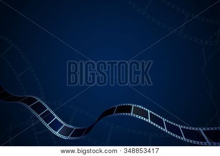 Modern Cinema Background With Realistic Film Strips. Movie Frames For Your Element Design Or Text. 3
