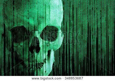 Imitation Of A Binary Matrix With The Image Of A Human Skull, Isolated On Black. Hacking Attack. Cyb
