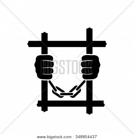 Black Icon Prisoner. Hands Holding Prison Bars. Vector Illustration Flat Design. Silhouette Criminal