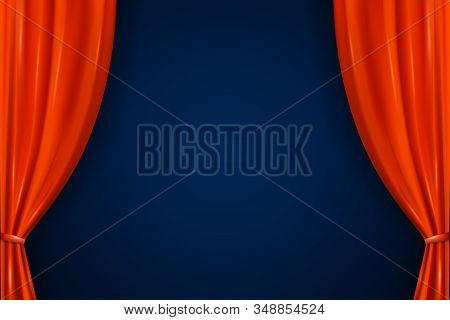 Realistic Open Red Curtains. Empty Stage With Luxury Scarlet Red Curtains And Empty Auditorium. Velv